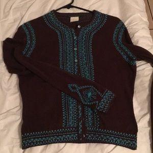 Cotton/wool beaded sweater